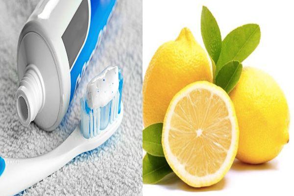 Kem đánh răng và nước cốt chanh
